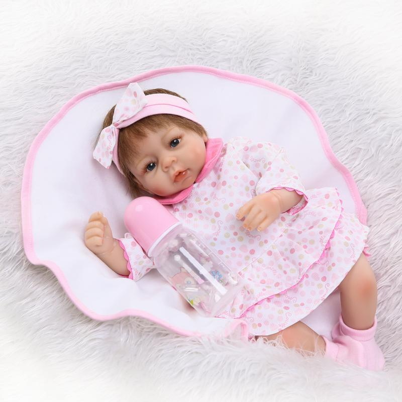NPK 42cm Doll Bebe Reborn Baby Full Body Silicone Reborn Lifelike Newborn Doll Girl Gift Bonecas Girl Toys Toys For kids new arrival 18inch doll npk american sweet girl with curly long hair in floral skirt dress bonecas bebe kids gift brinquedos