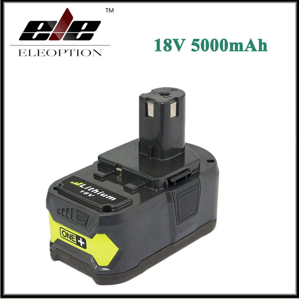 Eleoption 18V 5000mAh Li-Ion Rechargeable Battery For Ryobi P108 RB18L40 P2000 P310 For Ryobi ONE+ BIW180 eleoption 2pcs 18v 3000mah li ion power tools battery for hitachi drill bcl1815 bcl1830 ebm1830 327730