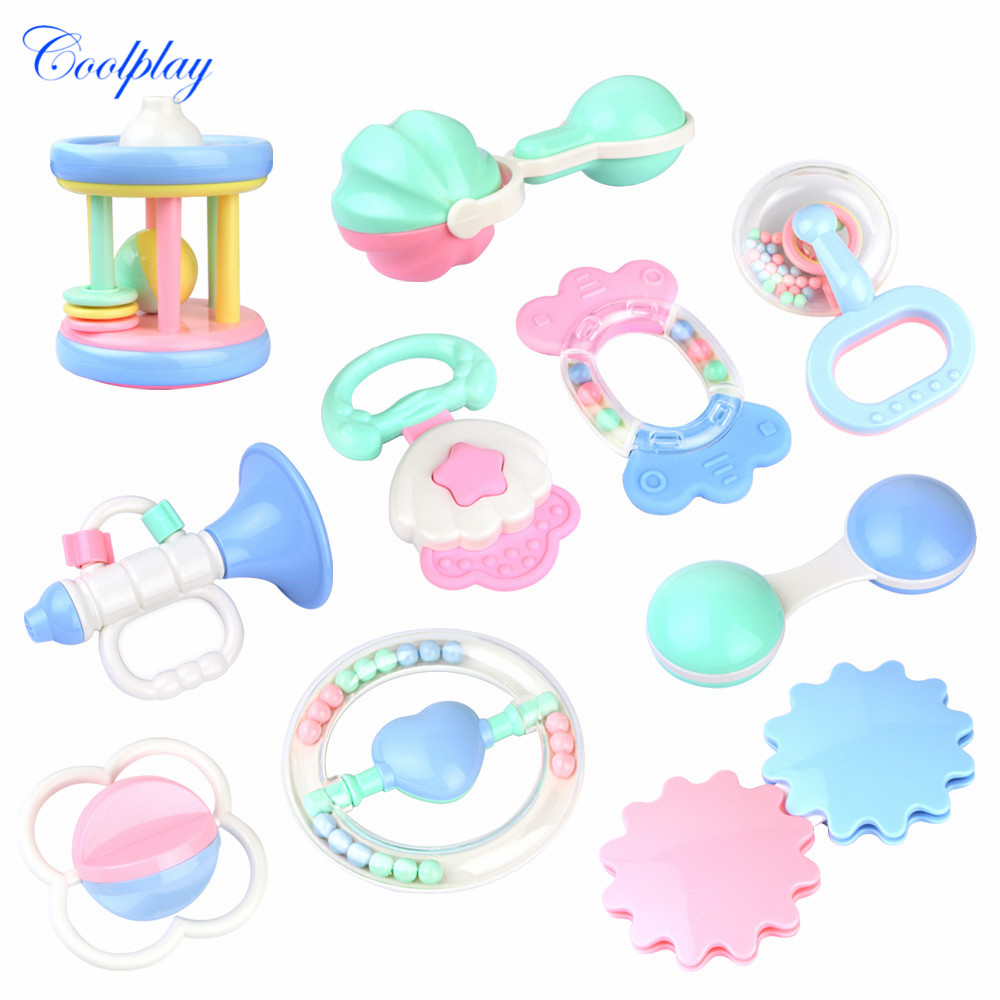 20 Styles Newborn Baby Teether Rattles Jingle Bells Baby Toys 0-12 Months Lovely Hand Hold Shaking Bell Baby Rattles Toys Gifts