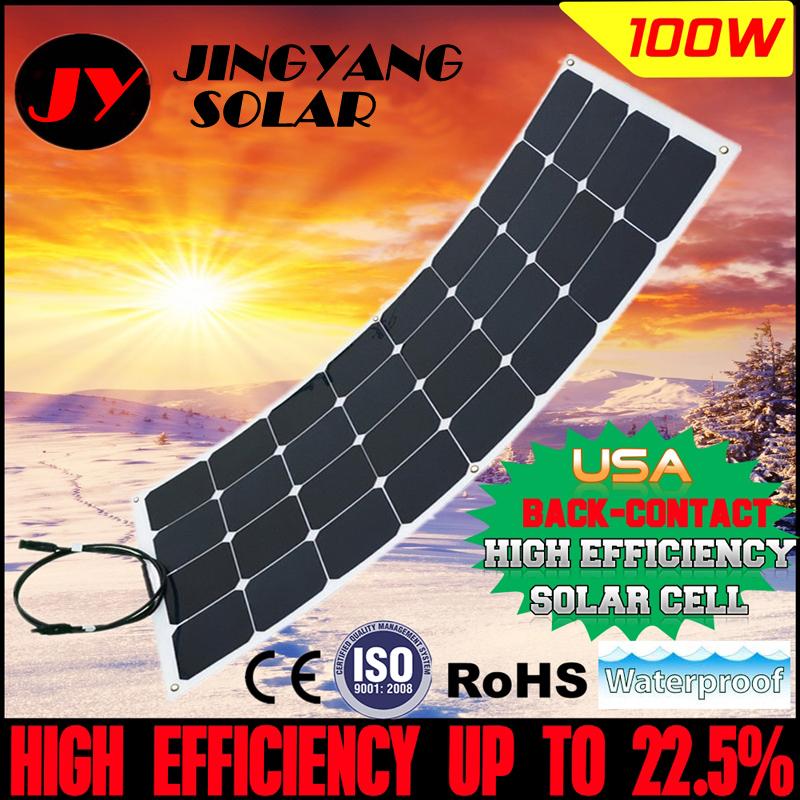 Prix pour 1 PCS 100 W flexible panneau solaire 12 V cellule solaire/module/système RV/voiture/marine/bateau batterie chargeur