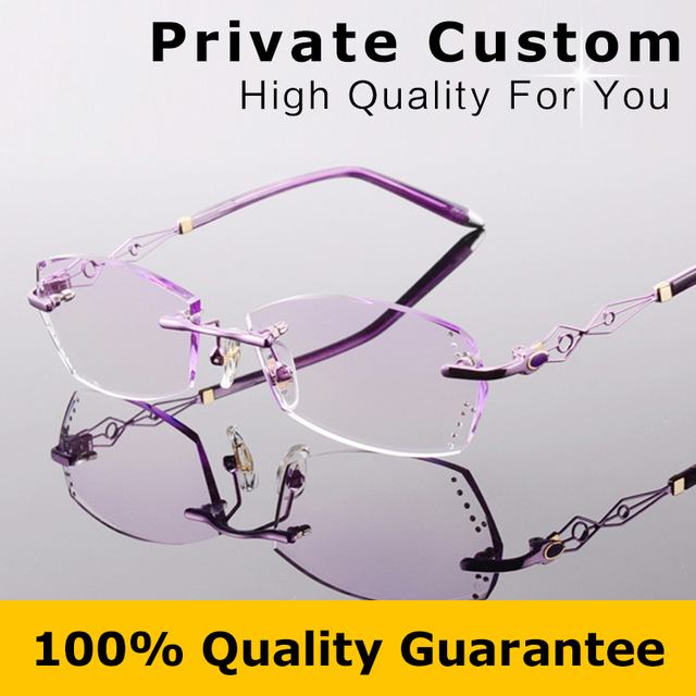 Grife Senhoras Óculos Sem Aro Moldura Miopia Óculos Mulheres Óculos de Armação Óptica com Caixa de Óculos de Leitura 617