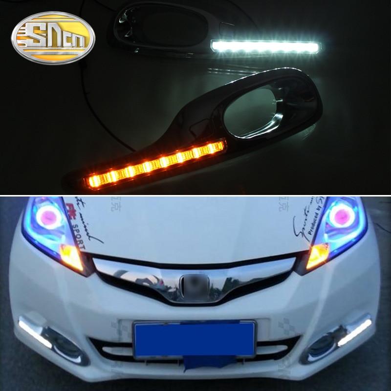 2PCS LED Daytime Running Light For Hyundai Fit Jazz 2011 2012 2013 Yellow Turn Signal Function
