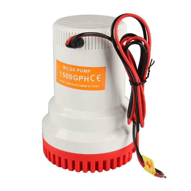 12V 1500GPH Marine Bilge/Sump Pump  Unlike Rule submersible water sump pump  Ship Submersible Fish Marine Boat Electric Bilge