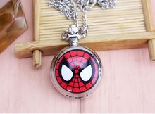 Superman Batman Spiderman Pocket Watch with Necklace Chain