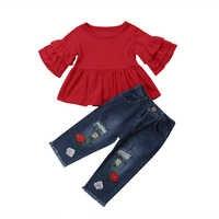 2 pz Bambini Del Bambino Delle Ragazze Abiti Casual T-Shirt Top Lungo Strappato I Pantaloni Leggings Abbigliamento Set estate floreale del manicotto del petalo abbigliamento