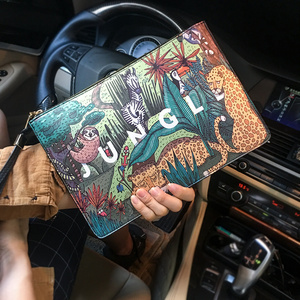 Fashion Plants Print Clutch Bags for Women Personality Leather Contrast Color Street Lady Wrist Bag Couple Casual IPad Bags 2020