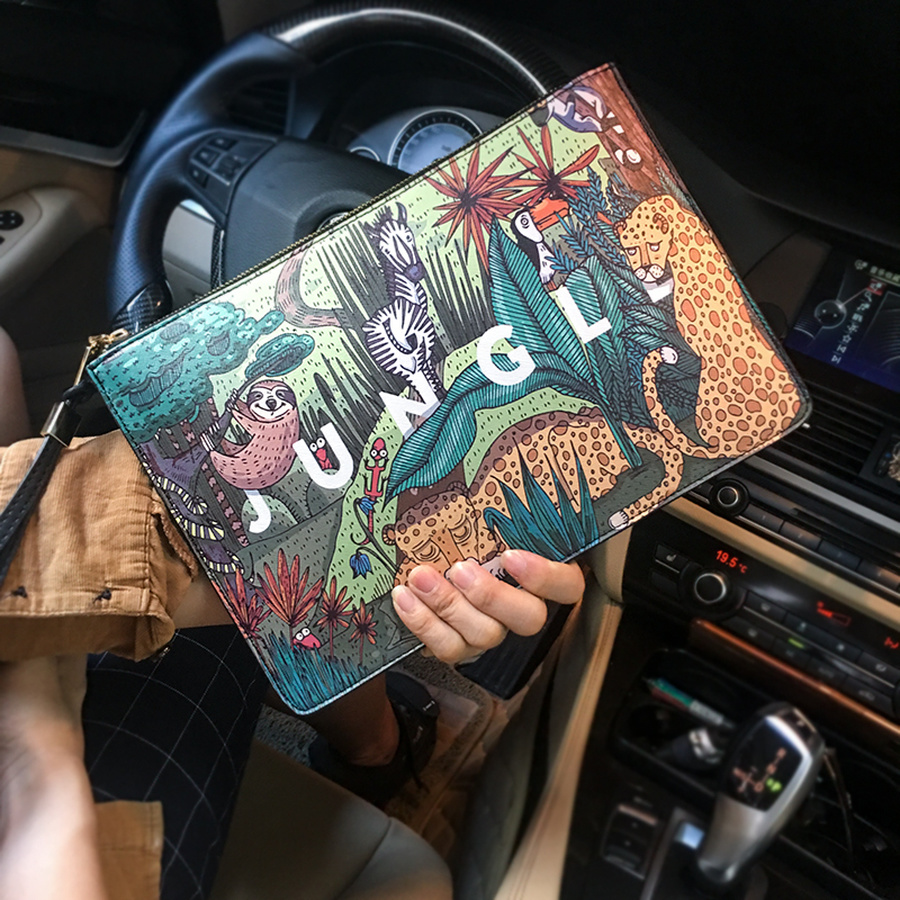 Fashion Plants Print Clutch Bags For Women Personality Leather Contrast Color Street Men's Wrist Bag Couple Casual IPad Bag