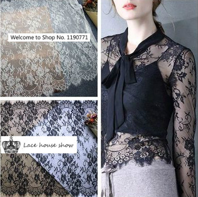 6 Meters Classical Old Design  and Nylon Full Dress Eyelash Lace Soft Black / Off White French Bilateral Chantilly Lace Fabric