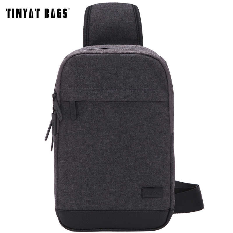 TINYAT New Men Shoulder Sling Bags Pack Gray Casual Crossbody Messenger Bag Pack Waterproof Travel Chest Bag Pack for Women 602