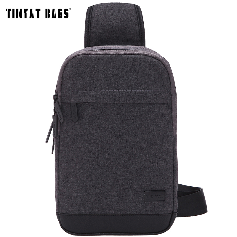 TINYAT Men Chest Bag Pack Canvas Crossbody Bag Waterproof Shoulder Bags Functional Convenient Mobile Phone Belt Pouch T602 Gray slim men s bag male bags for men handbags waist bag canvas men messenger bags men crossbody shoulder phone pocket chest pack