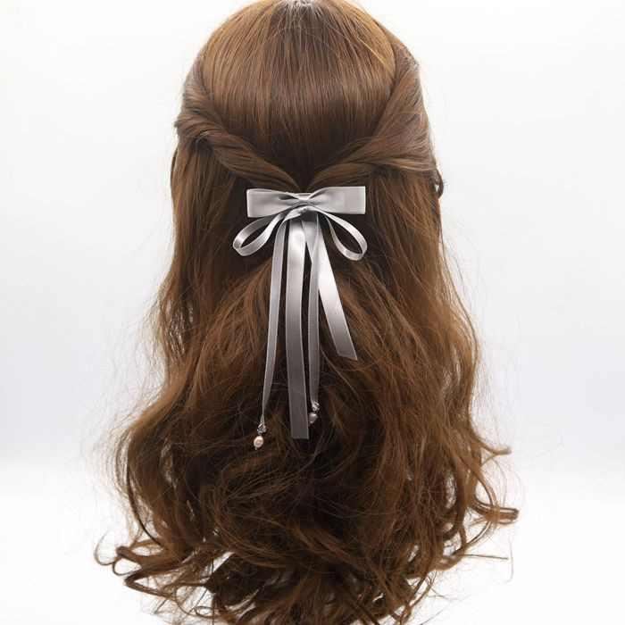 Clipe de cabelo arco enfeites de cabelo fita longa com fitas liuhai lado pasta superior duckboy chucks jóias