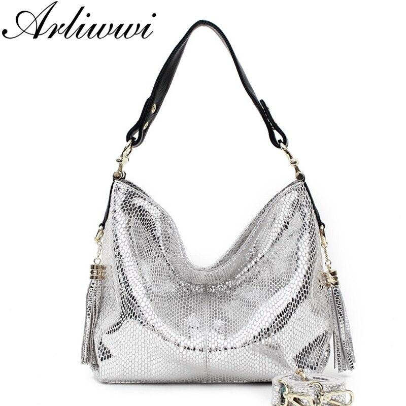 Arliwwi Brand Luxurious Gold Silver Snake Pattern Embossed Cowhide Women Handbag