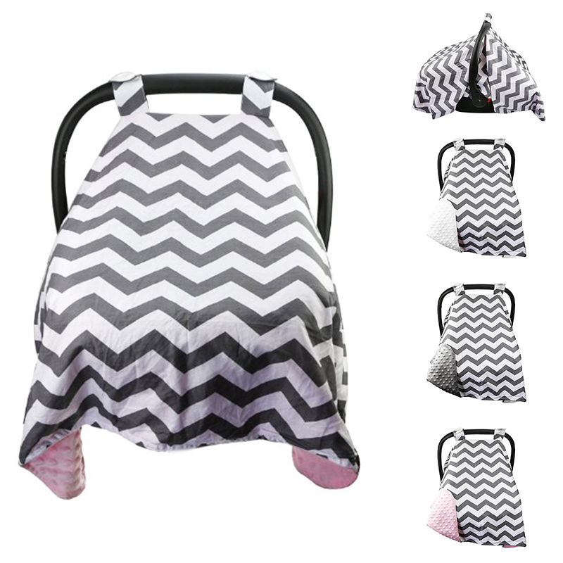 Premium Carseat Canopy Cover Baby Infant Pram Car Seat Cover Breathable Cotton Soft Minky Canopy Car