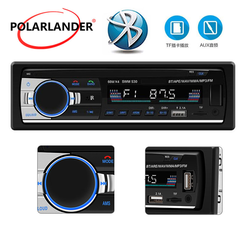 1 Din 4 Car Radio MP3 Audio Player Bluetooth DC 12V U Disk AUX Remote Control LCD Stereo RCA 4.0 In Dash FM USB2.1 image