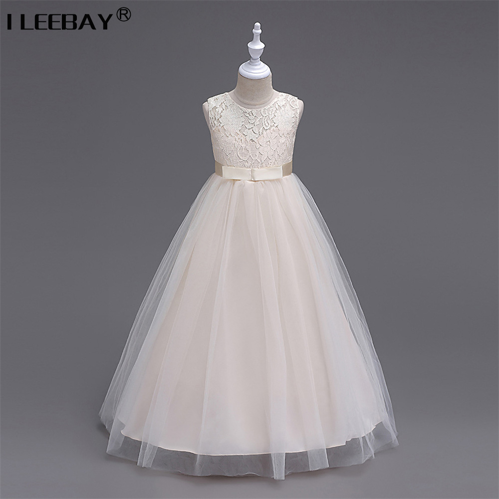 Retail High Quality Big Girl Princess Lace Dresses for Wedding Party Children Bridesmaid Bow Sleeveless Gown Long Prom Costume