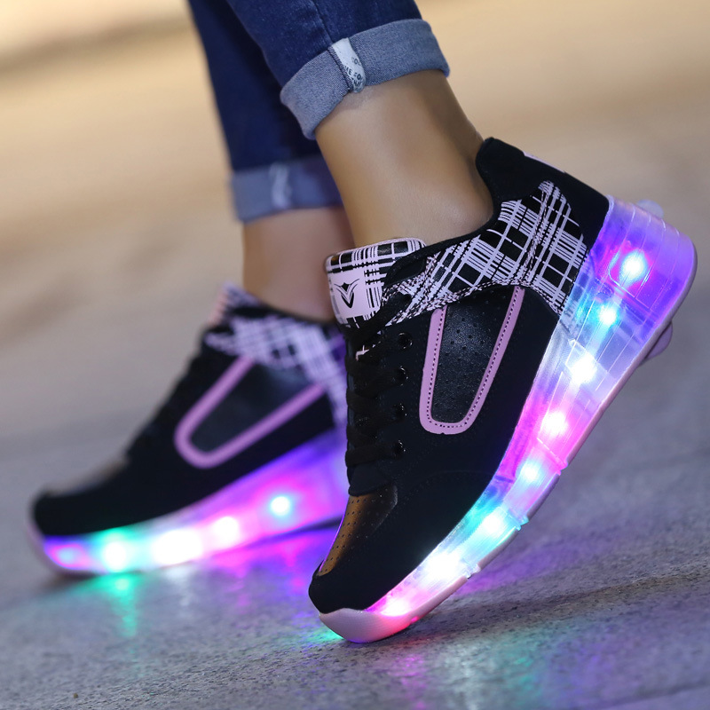 Child Boys Girls LED Light Shoes With Wheels Fashion Sports Sneaker Kids Light Up Shoes Children