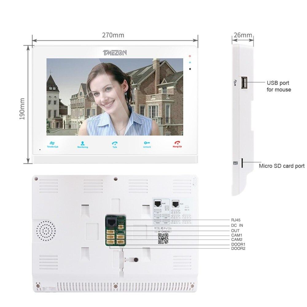 TMEZON ワイヤレス/Wifi スマート IP ビデオドアベルインターホンシステム、 10 インチ + 7 インチ画面モニターと 2 × 720 720p 有線ドア電話カメラ  グループ上の セキュリティ & プロテクション からの ビデオインターホン の中 3