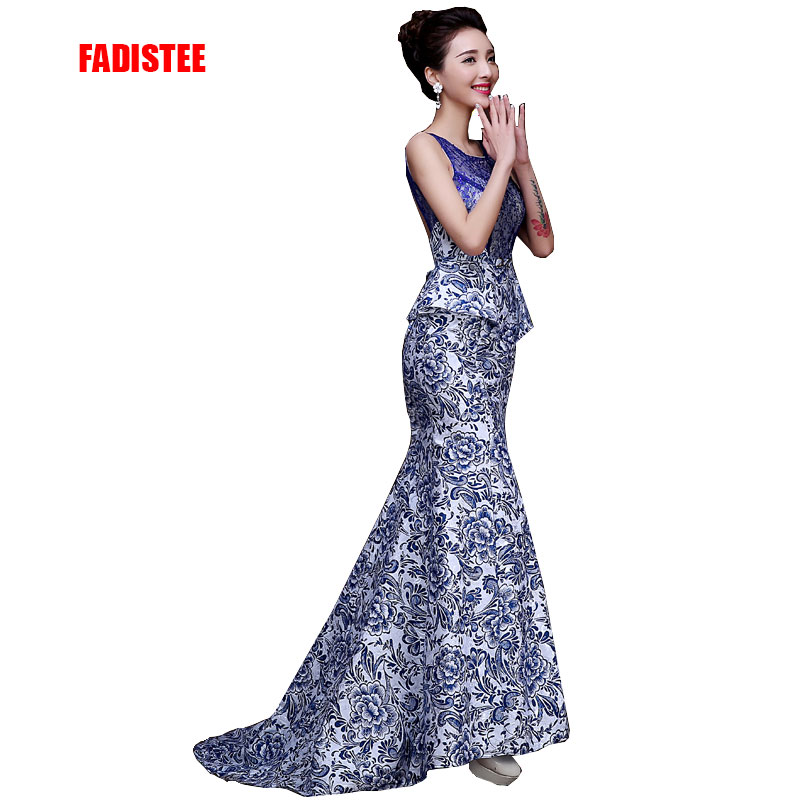 Hot sale luxury evening dresses sexy backless formal dress beading prom party pattern print satin dress