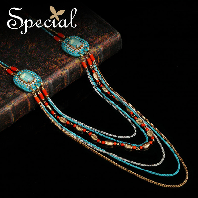 Special New Fashion Opal Long Necklace Ceramic Beads Maxi Necklaces & Pendants Multi-layer Jewelry Gifts for Women XL151219