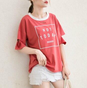 Vrouwen T-shirt Koreaanse Kpop VLEUGELS Brieven Gedrukt Contrast Kleuren Katoenen T-Shirts Casual Streetwear Niet Vandaag Tee Shirt Femme Tops