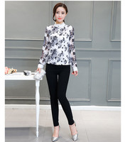 Latest Autumn Fashion Women Base Shirt High Quality O Neck Pullover Long Sleeve Lace Tops Printing