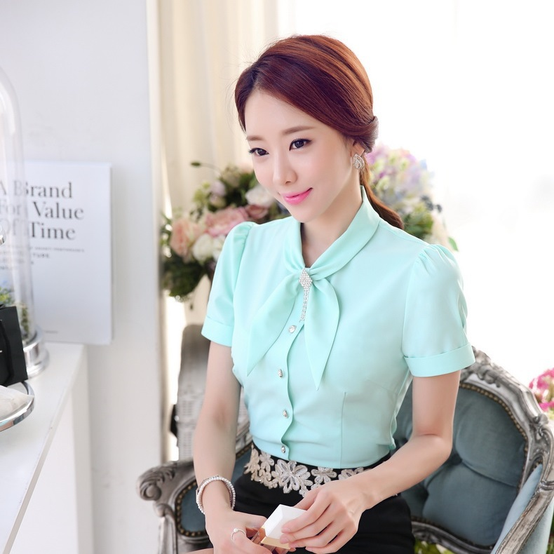 cbed870afdf New 2015 Summer Fashion Blouses Women Shirts Bow Tie Plus Size Slim Female  Tops Formal Office Uniform Blouse OL-in Blouses   Shirts from Women s  Clothing on ...