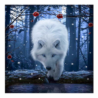 DIY Diamond Painting Wall Sticker White Wolf Cross Stitch Embroidery Painting3D 5D Sticker 30x30cm Home Decor