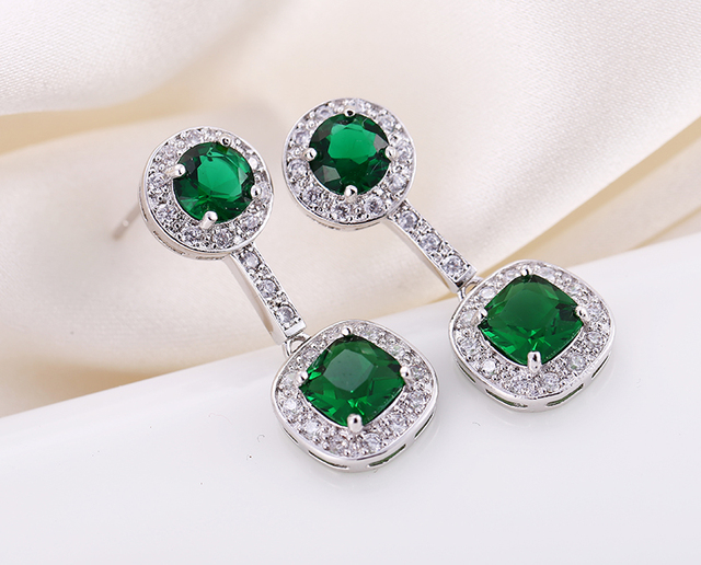 H F Top Quality Fashion Jewelry Square Green Cz Stone Pendant Earring For Women Best