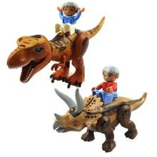 Jurassic Dinosaur World Jurassic Park 2 Figure Tyrannosaurs Rex Building Blocks Compatible With Duplo Dinosaur Toys For Children