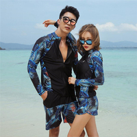2019 Fashion Men and women matching rash guard couple korean swimsuit lovers surfing clothes set long sleeve UV protect