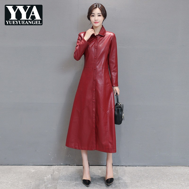 Ladies PU   Leather   Jackets Black Red Womens Plus Size M-5XL Windbreakers Long Trench Coat Faux   Leather   Jacket Female Streetwear
