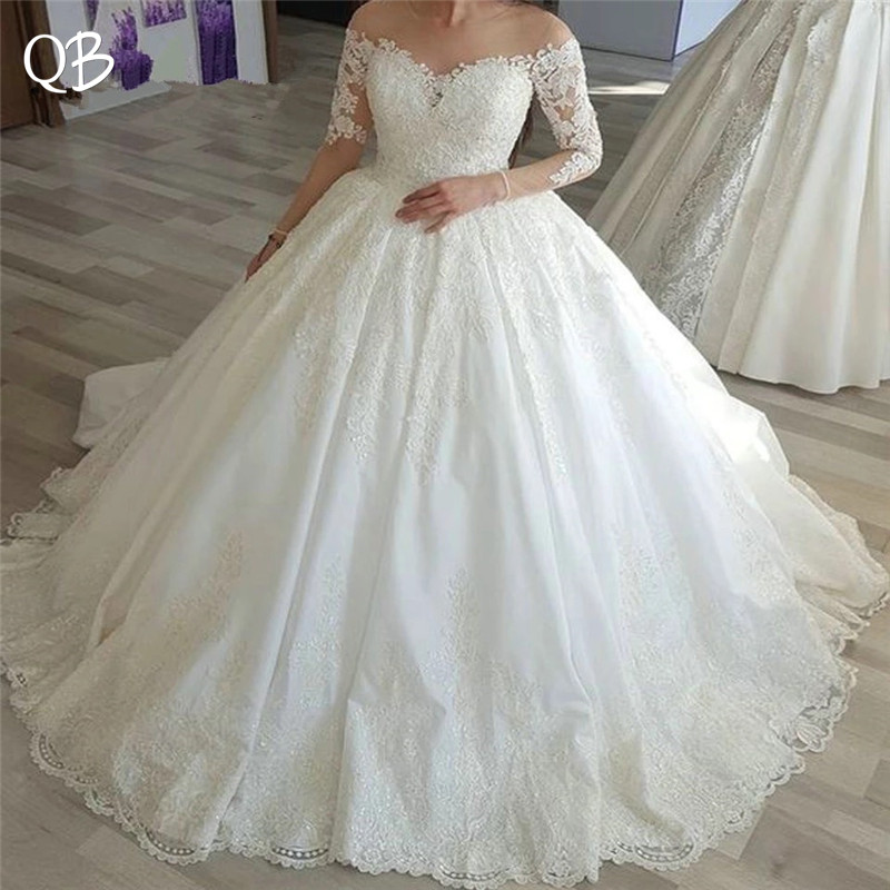 Custom Made Empire Long Sleeve Fluffy Lace Tulle Wedding Dresses Elegant Luxury Vintage Bridal Gowns DW129