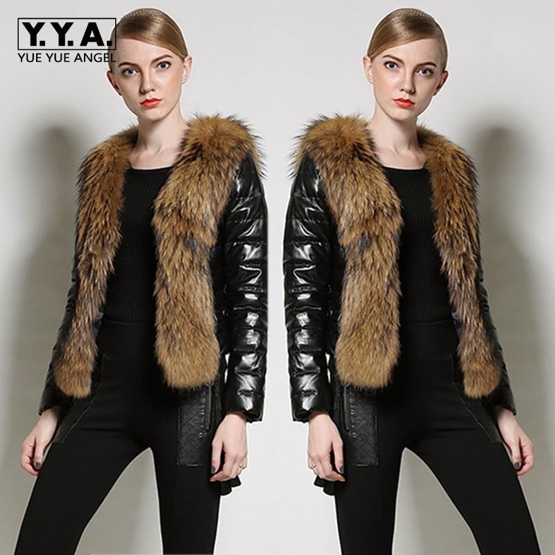 2019 New Winter Ladies PU   Leather   Jackets Faux Fox Fur Outwear Fashion Splice Belt Women Coats Streetwear Slim Fit Overcoat