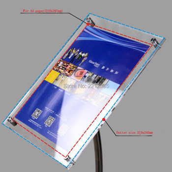 A4 Floor Standing Curved Post Menu Sign & Poster Holder Display Stand with Acrylic Picture&Signage Frames