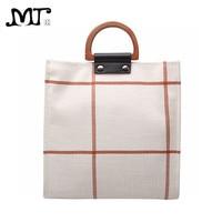 MJ Women Plaid Canvas Tote Casual Beach Bags Big Capacity Women Shopping Bag Daily Use Canvas Handbag Cotton Linen Shoulder Bag