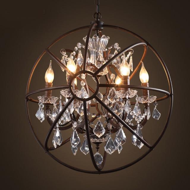 Foucault S Orb Crystal Chandelier Antique Rust Globe Pendant Lamp E14 Light Restoration 4 6