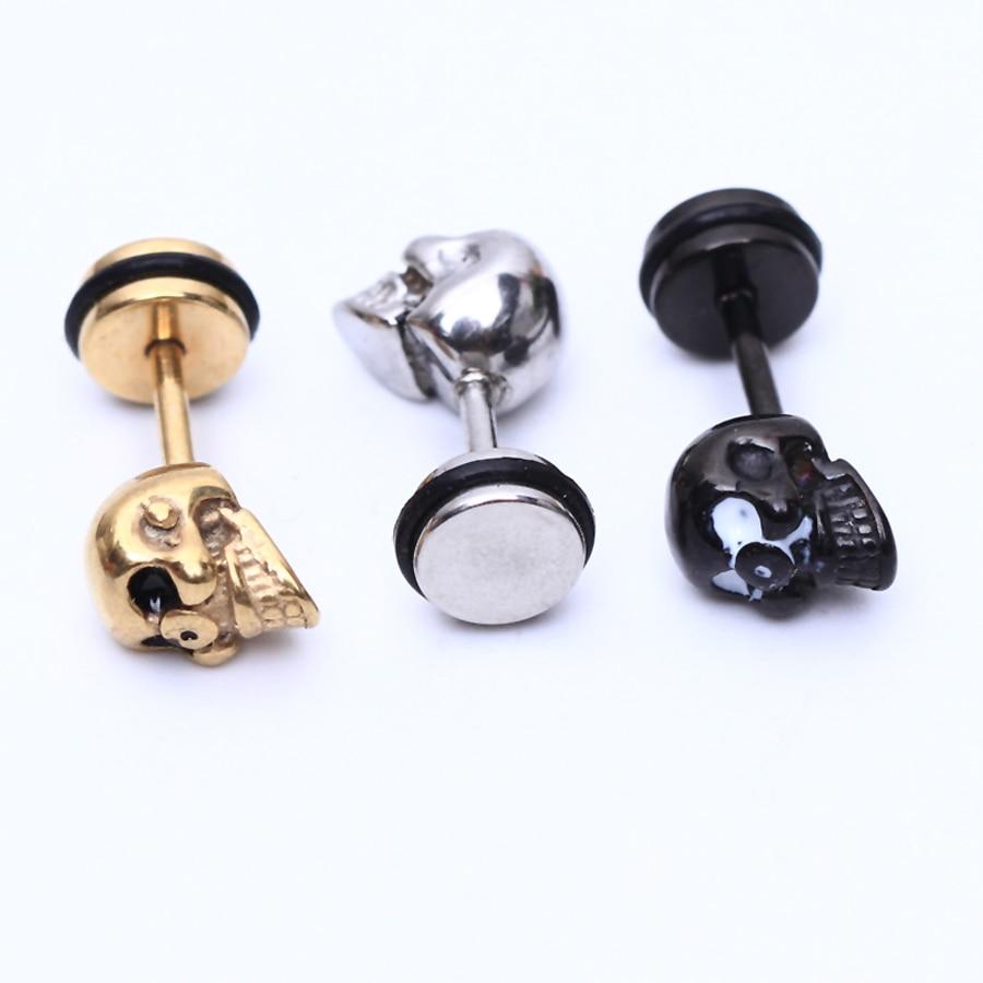 Aliexpress.com : Buy 2pcs Fashion Earrings Stainless Steel skull ...
