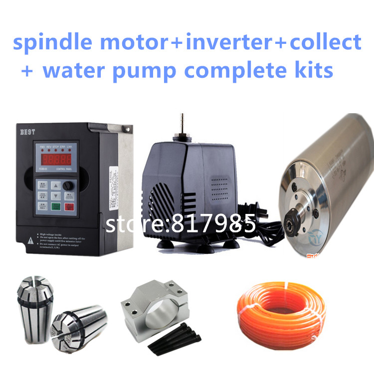 High quality 220V/380V cnc engraving water cooling 4.5KW spindle motor+ER20 collect +4500w inverter+spindle clamp+pump+5m pipes water cooling spindle sets 1pcs 0 8kw er11 220v spindle motor and matching 800w inverter inverter and 65mmmount bracket clamp