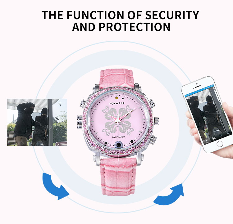 Love Her Buy TF26 Secuity Smart Watch for Her with Camera Lady Security Pink Watch P2P WiFi IP Camera Pocket DVR WIFI Watch