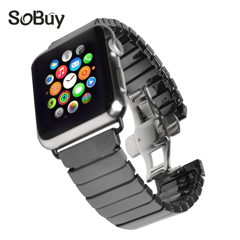 So buy Ceramic Watchband for Apple Watch Series 3 2 1 Watch Band Link Bracelet Ceramic Wristband for iWatch 42mm belt 38mm Strap
