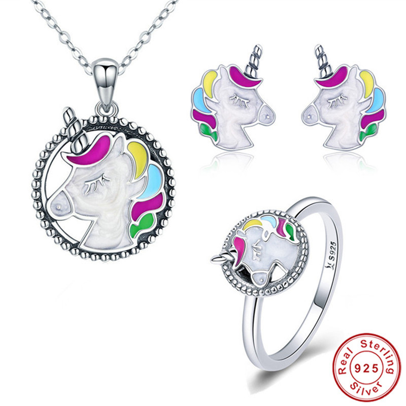INBEAUT Women Wedding Jewelry Set 925 Sterling Silver Colorful Unicorn Pendant Necklace&Ring&Earrings for Female Animal Gift