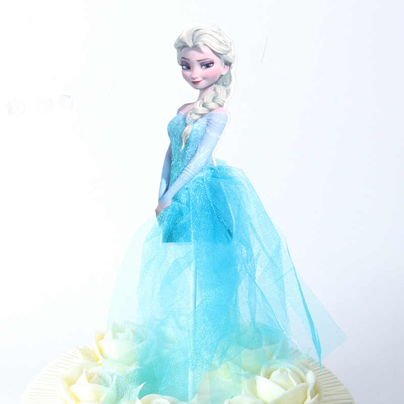 Elsa Princess Theme Party Cupcake Toppers Picks With Dress Snow White Cake decor girl birthday Party Supplies cake topper