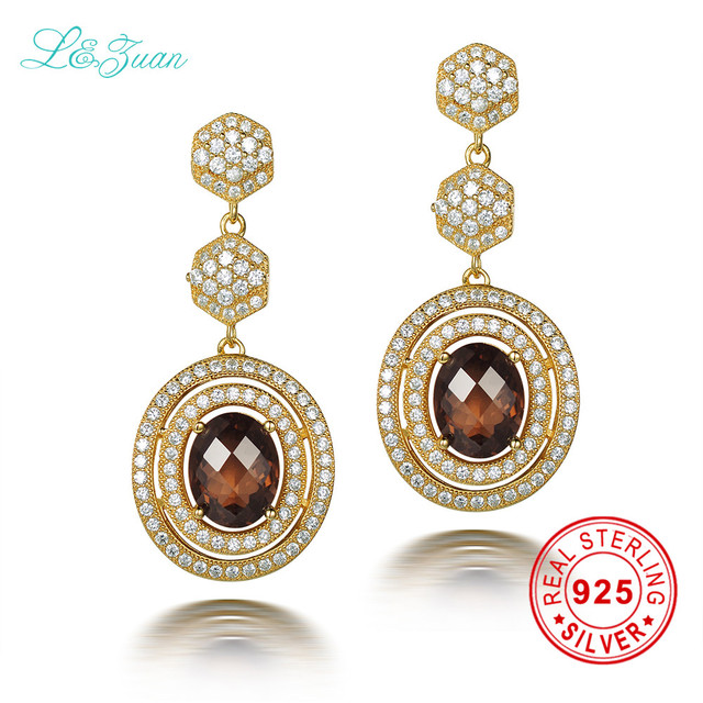 L Zuan 925 Sterling Silver Natrual 5 36ct Smoky Crystal Brown Stone Round Drop Earring Jewelry For