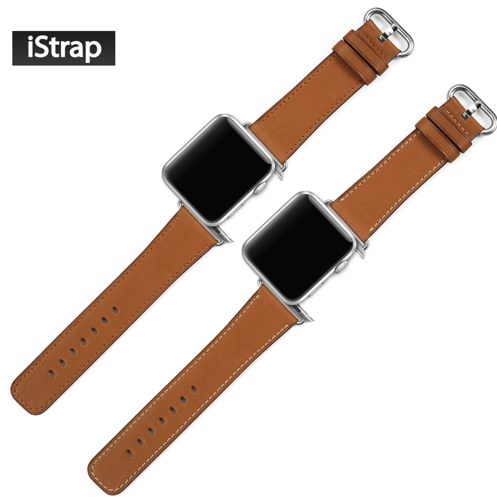 iStrap High Quality Brown 42mm Strap For Apple Watch Genuine Leather Replacement Bracelet For Apple Watch Band 42mm Super Soft istrap black brown red france genuine calf leather single tour bracelet watch strap for iwatch apple watch band 38mm 42mm