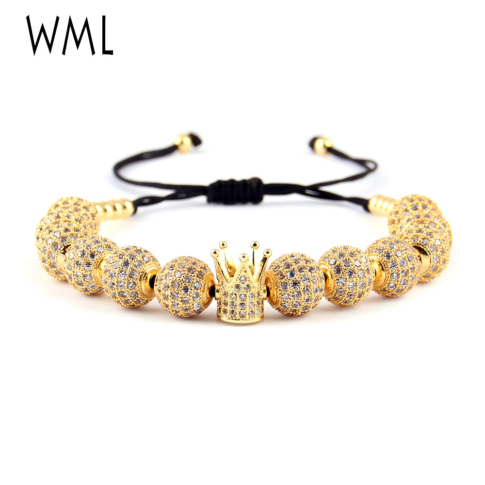 WML women Luxury bracelet White CZ Ball Connector 4mm Beads Braided Macrame Bracelets Bangles for women Jewelry in Charm Bracelets from Jewelry Accessories