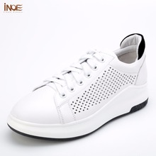 INOE 2017 new fashion style genuine cow leather women casual summer mesh shoes leisure lace up big girls loafers flats white