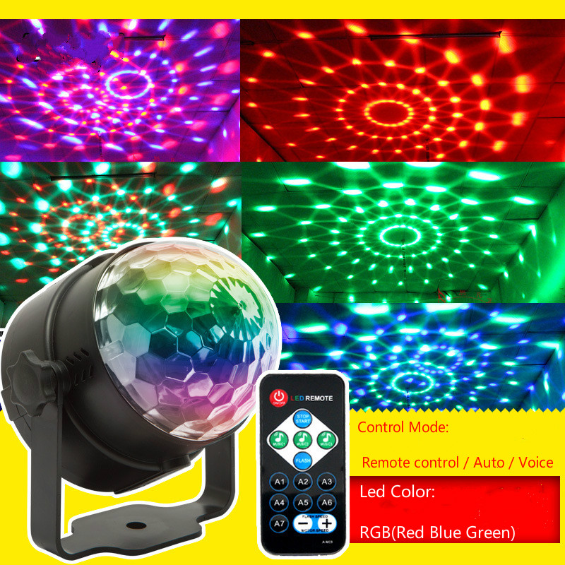 Mini RGB Stage Light Crystal Magic Ball Led Stage Lamp Party DJ KTV Disco Sound IR Remote Control Christmas Projector Lights