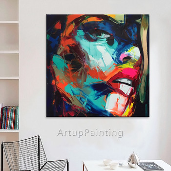 Painting of portrait Palette knife Face Oil painting Impasto figure on canvas,Hand painted of Francoise Nielly,wall art pictures