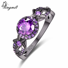 Lingmei Bridal New Comes Round Cut Purple Charm & Red Cubic Zircon Silver Black GoldPlated Ring For Women Size 6 7 8 9 Pretty