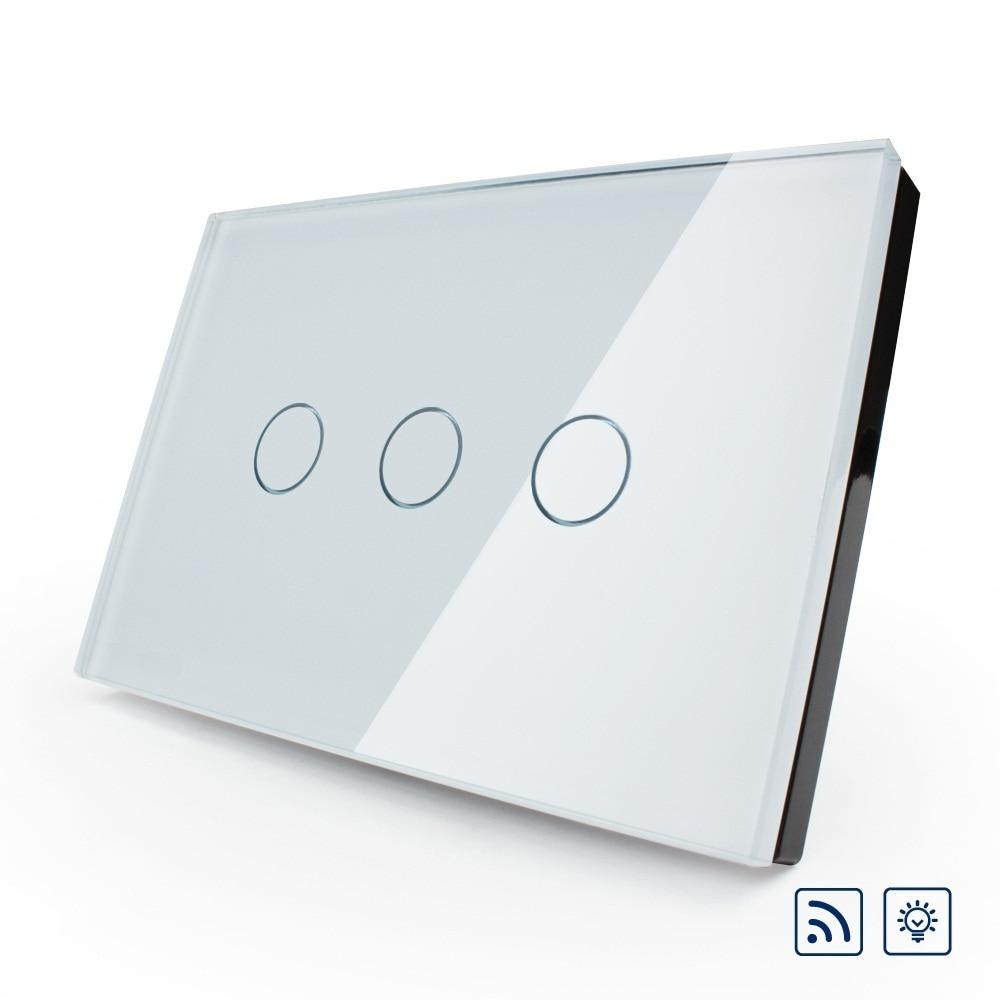 Norme US/AU, VL-C303DR-81 d'interrupteur tactile sans fil, écran tactile en verre cristal ivoire, variateur et interrupteur d'éclairage mural à distance